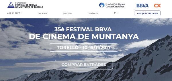 Javajan. Redisseny web de la pàgina del Festival del Cinema de Muntanya de Torelló